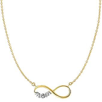 14k 2 Tone Gold Infinity Pendant With Script Mom Necklace, 18