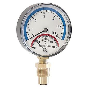 80mm 1,6 - 6 bar 120C Thermo Pressure Gauge 1/2