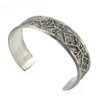 Handgemaakte Keltische middeleeuwse stijl Matte afwerking tinnen Manchet armband (instelbaar)