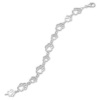 7.5 Inch Cut Out Paw Print Bracelet 7.5 Inch Sterling Silver Cut Out Paw Print Bracelet