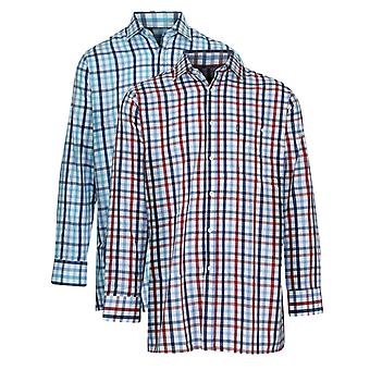 2 Pack Mens Champion Sarum Country Style Casual Check Long Sleeved Shirt