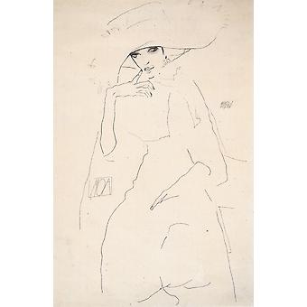 Egon Schiele - Sketch of Woman in Hat Poster Print Giclee