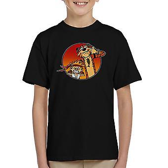 Gaden Pals Street Fighter Calvin og Hobbes børne T-Shirt