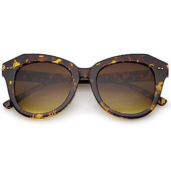 Kvinders Oversize Horn kantede runde linse Cat Eye solbriller 52mm