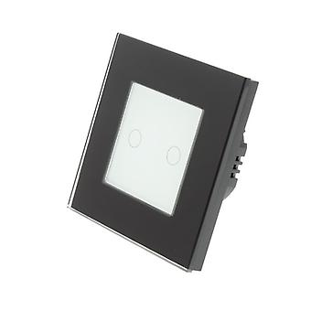 I LumoS Black Glass Frame 2 Gang 1 Way Remote & Dimmer Touch LED Light Switch White Insert