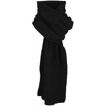 Dents Plain Ribbed Knitted Scarf - Black