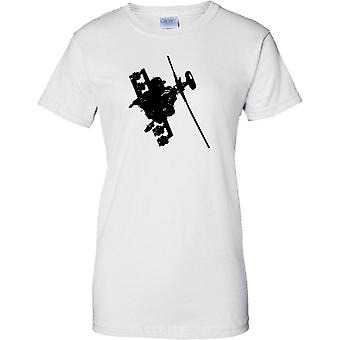 Apache Helicopter Flying - Awesome Military Chopper - Ladies T Shirt