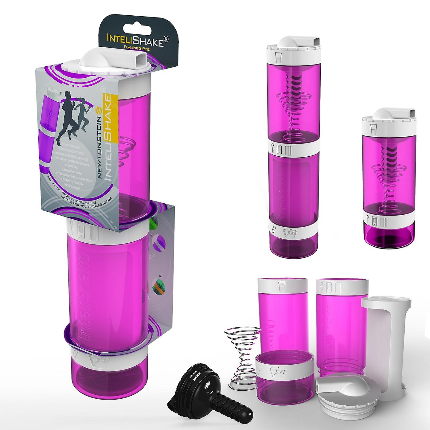 Intelishake Flamingo Pink - Shaker Bottle Multi-Compartment Protein/Workout/Juice with Water Carbon Filter for Sports Exercise & Gym