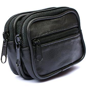 Mens Soft REAL custodia in pelle cintura portafoglio borsa Bum Bag Loop carta titolare