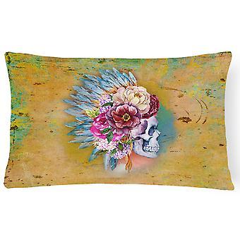 Dødes dag blomster Skull lerret stoff Dekorative Pillow