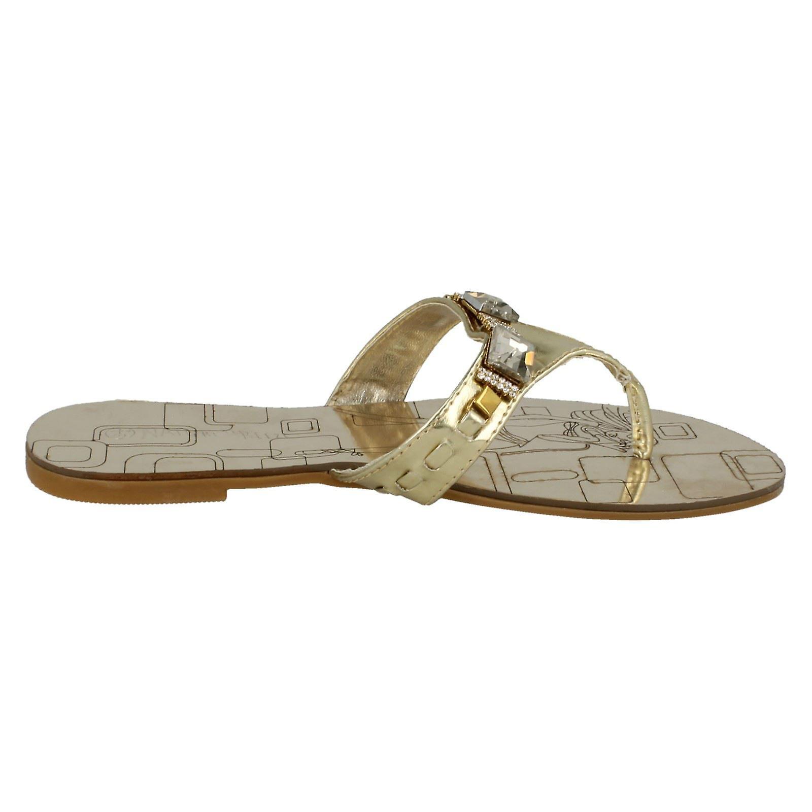 F0364 Nature Breeze Flat Ladies Jewelled Toepost Sandals an4xUwUR