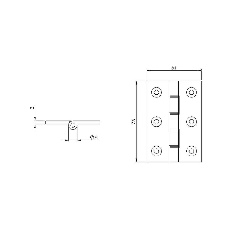Premium Quality M4TEC ZC8 Self-Coloured Brass Interior DPBW Butt Door Hinge - Sturdy, Durable & Easy To Install – With Double Phosphor Bronze Washers & Brass Pins – Ideal For General Joinery & Furniture. 2pcs