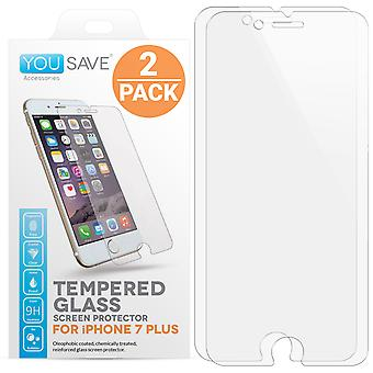 iPhone 7 Plus glas Skärmskydd - Twin Pack