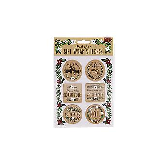 CGB Giftware Christmas 6 Festive Greeting Gift Stickers