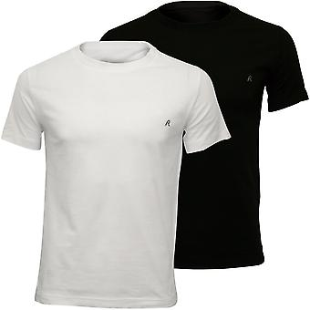Replay 2-Pack Crew-Neck T-Shirts, Black/White