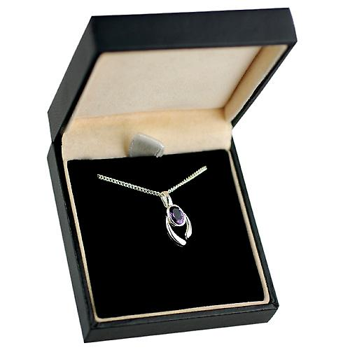 Silver 14x9mm Pendant set with 7x5mm Amethyst on a curb Chain 20 inches
