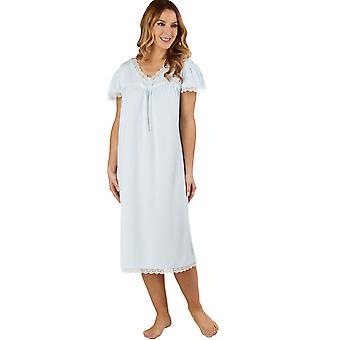 Slenderella ND1115 Women's Jacquard Blue Night Gown Loungewear Capped Sleeve Nightdress