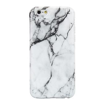 iPhone 6 / 6S Marble Stone Effect High Shine Protective Case - White / Grey