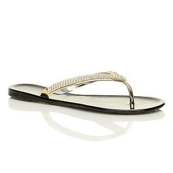 Ajvani womens flat gold diamante jelly toe post rubber summer flip flops sandals