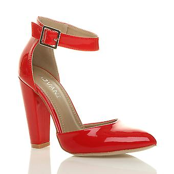 Ajvani женские высокий блок каблук манжеты лодыжки ремень пряжки указал Суд обувь Босоножки насосы
