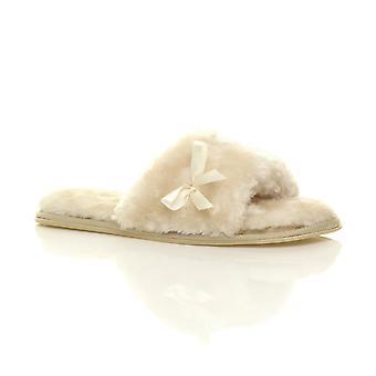 Ajvani dame flade peep toe bue luksus hyggelige faux sheepskin pels slip på tøfler