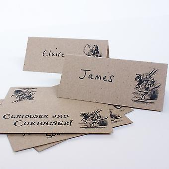 Alice im Wunderland Ort Karten Set 8 braun Kraft Hochzeitsgesellschaft
