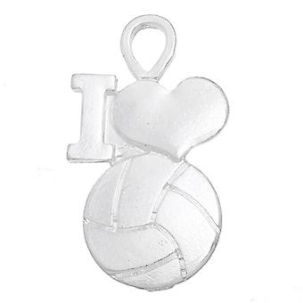 Packet 5 x Antique Silver Tibetan 30mm I Love Volleyball Charm/Pendant ZX04905