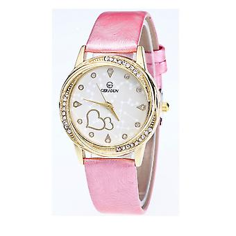 Classy Yellow Gold Heart Pink Watch Love Clear Time Elegant