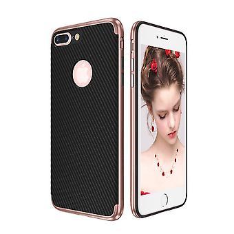 تغطية الهجين سيليكون سيليكون الجلد حالة لابل أي فون 8 بالإضافة إلى تغطية حالة الكيس الوردي