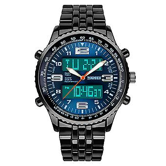 Skmei Mens Blue Large Dual Time Clear Analogue And Digital Display Watch Stopwatch Alarm 30m Water Resistant AD1032
