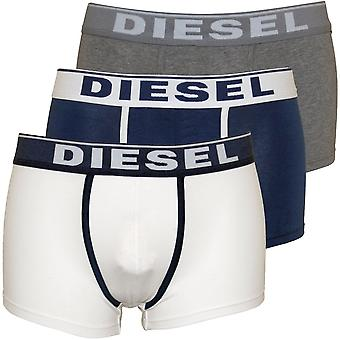 Diesel 3-Pack Contrast Colour Boxer Trunks, Navy/White/Grey