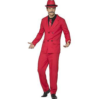 Zoot Suit, rød, med jakke, bukse, lue, Mock skjorte & slips