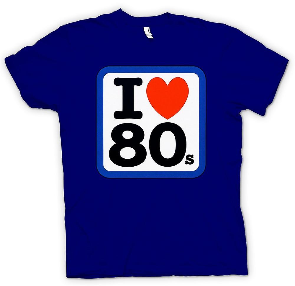 Mens T-shirt - I Love Heart The 80s - Funny