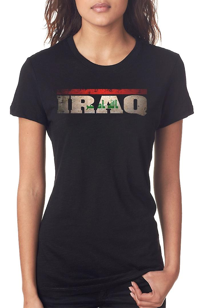 Iraqi Iraq Flag - Words Ladies T Shirt