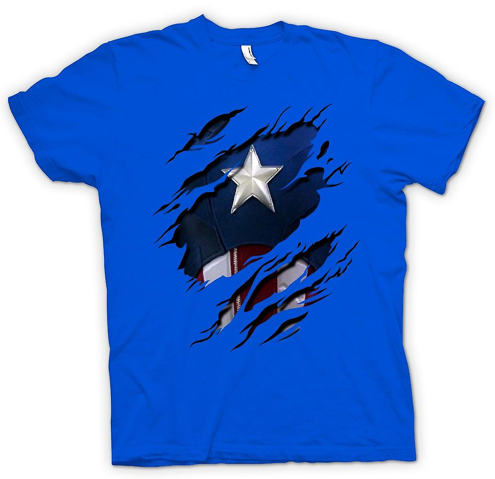 Mens t-skjorte - Retro Captain America Super helten dratt Design