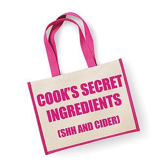 المكونات السرية الجوت كبيرة حقيبة كوك (Shh وعصير التفاح) الوردي حقيبة