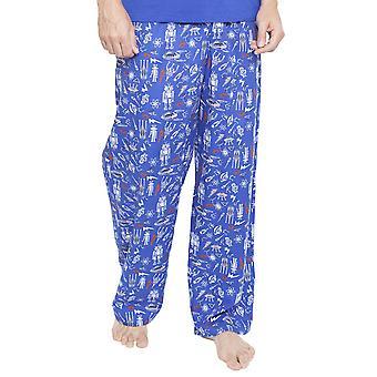Cyberjammies 6350 Men's Oscar Blue Space and Robot Print Pyjama Pant