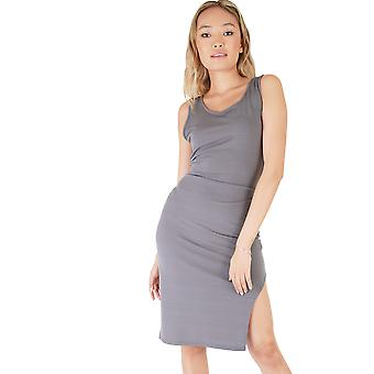 LMS Grey Jersey Midi Dress With Side Split And Cross Back