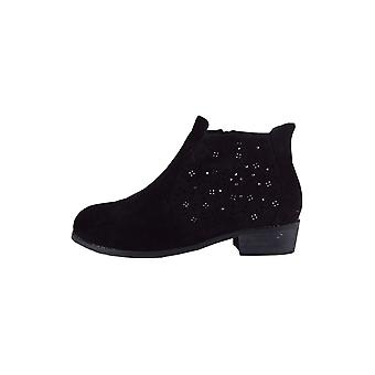 LMS Black Suedette Flat Ankle Boot With Silver Studwork