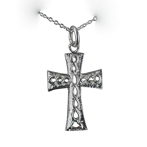 Silver 24x17mm knot embossed Celtic Cross with a rolo Chain 16 inches Only Suitable for Children