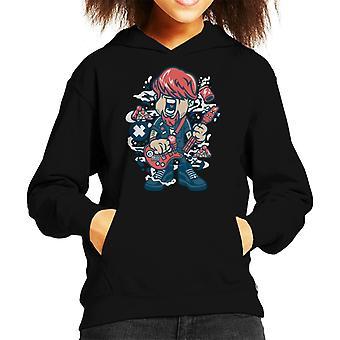 Broken Guitar Cartoon Character Kid's Hooded Sweatshirt