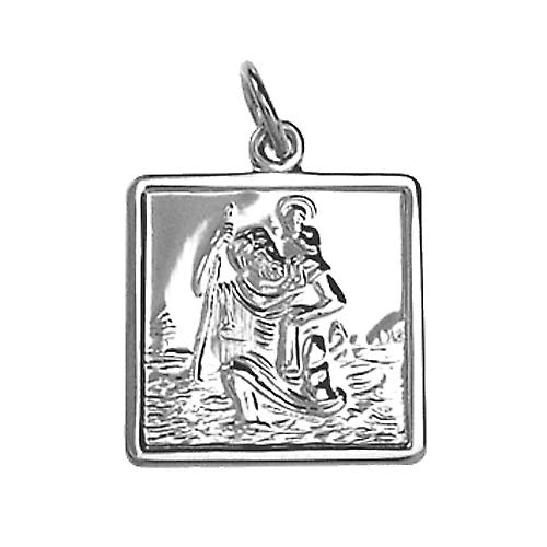 Silver 17x17mm square St Christopher Pendant