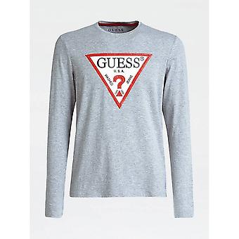 Guess Grey Long Sleeve Triangle Logo T-shirt