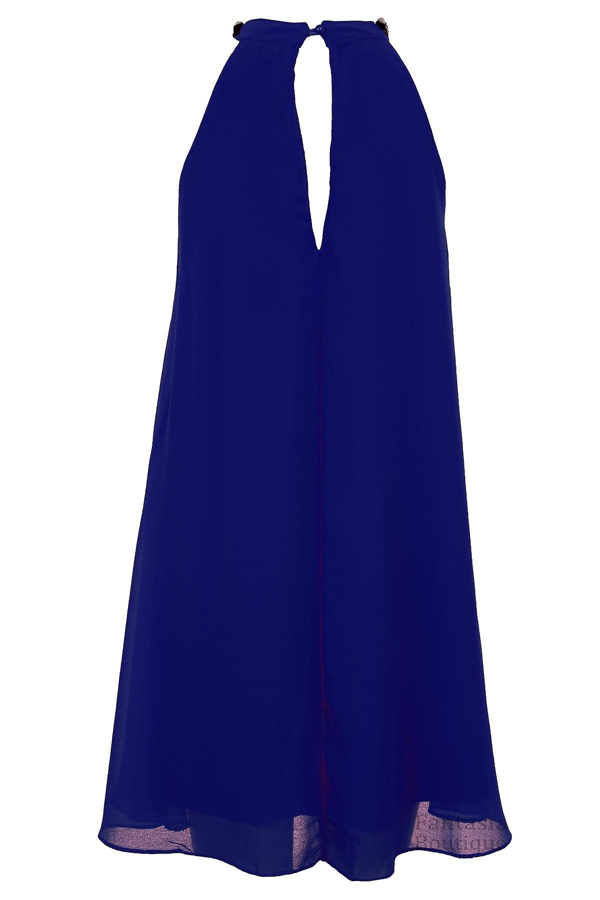 Ladies Diamante Necklace Neck Chiffon Lined Pleated Top Women's Party Dress