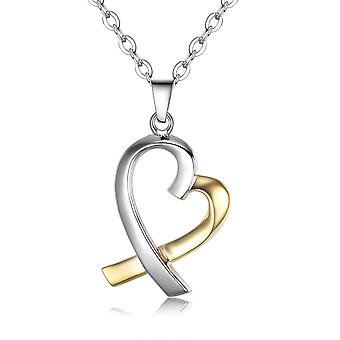 925 Sterling Silver 2-tone Heart Silver And Gold Pendant Necklace