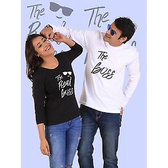 The real boss couple full sleeves t-shirt