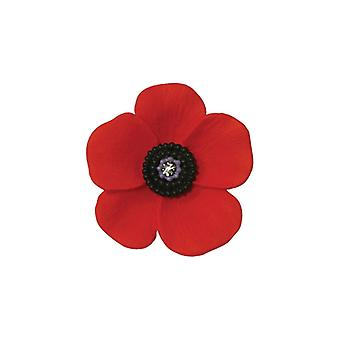 Eternal Collection Poppy Red And Black Enamel Gold Tone Petite Brooch