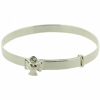 JO pour filles 925 argent Sterling April Birthstone Angel Clear Color CZ Bracelet