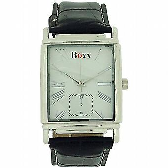 Boxx Black Crocodile Leather Effect Strap White Dial Gents Dress Watch