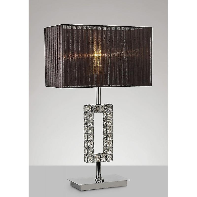 Florence Rectangle Table Lamp With noir Shade 1 Light Polished Chrome crystal